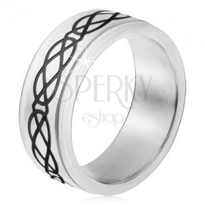 Gyűrű 316L acélból, fényes, fekete könnycsepp és rombusz minta