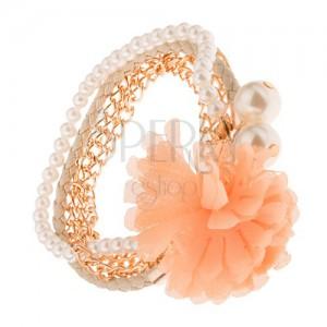 Multikarkötő - aranyozott lánc, bézs fonat, gyöngyök, narancs színű virág