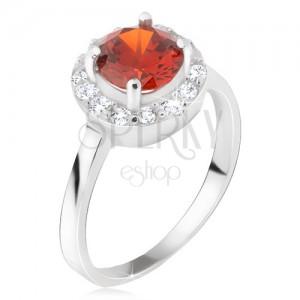 Gyűrű 925 ezüstből, kerek piros kő, átlátszó cirkóniás kör