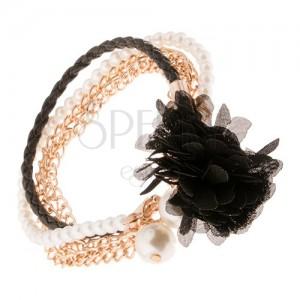 Multikarkötő - fekete fonat, arany színű láncok, gyöngyök, fekete virág