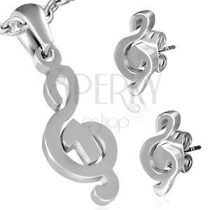 Sebészeti acél szett - medál és fülbevaló, violinkulcs