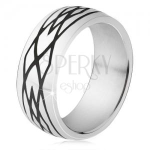 Acél gyűrű, fekete bemetszések, elipszis és rombusz minta