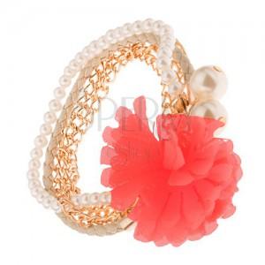 Multikarkötő - aranyozott láncok, bézs fonat, gyöngyök, lazacszínű virág