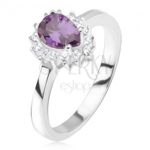 Ezüst gyűrű - lila könnycsepp kő, cirkóniás szegély