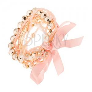 Multikarkötő - rózsaszín és fehér gyöngyös zsinórok, gyöngyöcskék, masni