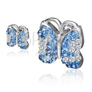 Fülbevaló sebészeti acélból, lepke, világoskék és átlátszó kövek
