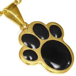 Arany színű acél medál, fekete állat tappancs