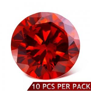 Kerek csiszolt piros színű kő, 3 mm