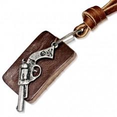 Bőr nyaklánc - kávébarna sáv, téglalapos tábla, revolver