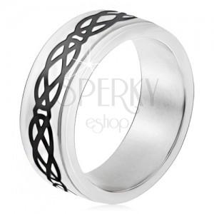Acél gyűrű, kiemelkedő sáv, rombusz és könnycsepp motívum, vastag vonalak
