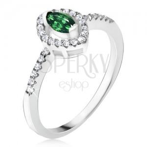 Ezüst gyűrű - ellipszis zöld kő, cirkóniás körvonal