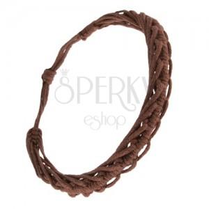 Zsinóros karkötő - fonott csokoládébarna fonalak, hernyó minta