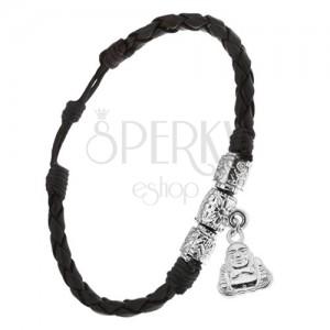 Karkötő fekete bőrhatású sávokból, dísz hengerek, Buddha