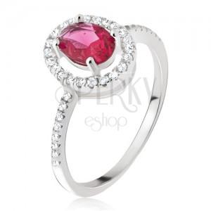 Ezüst gyűrű - ovális rózsaszínpiros kő, cirkóniás foglalat