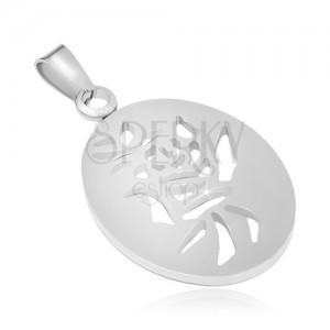 Acél medál ezüst színben, ovális kínai szimbólummal