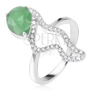 Gyűrű 925 ezüstből - zöld könnycsepp alakú kő, cirkóniás hullámos vonal