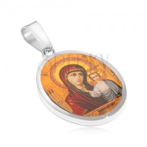Medál sebészeti acélból, Szűz Mária és Jézus, sárga háttér