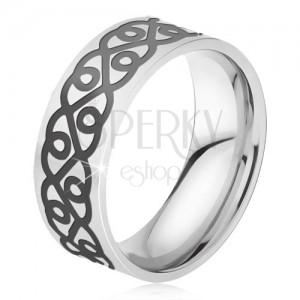 Acél gyűrű - ezüst színű karika, vastag fekete minta, szívek
