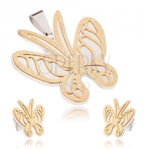 Arany-ezüst acél szett, medál és fülbevaló, szemcsés pillangó