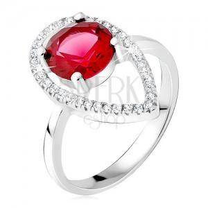 Ezüst gyűrű - kerek piros kő, könnycsepp kontúr cirkóniákból