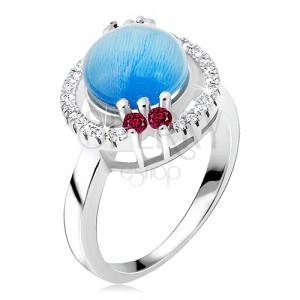 Gyűrű 925 ezüstből - cirkóniás karika, akvamarin kő