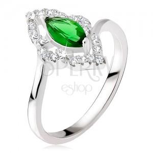 Ezüst gyűrű - elipszis kő zöld színben, cirkóniás kontúr
