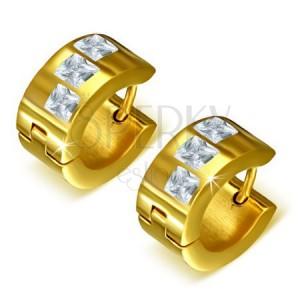 Arany színű acél kör fülbevaló, három átlátszó négyszögletes kő