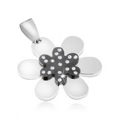 Medál 316L acélból - csillogó kétszínű virág, átlátszó cirkóniák