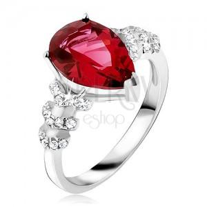 Gyűrű 925 ezüstből - piros könnycsepp alakú kő, átlátszó cirkóniás nyíl