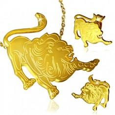 Arany szett sebészeti acélból - medál és fülbevaló, Oroszlán