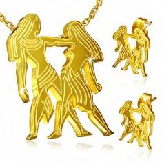 Acél szett arany színben, fülbevaló és medál, Ikrek csillagjegy