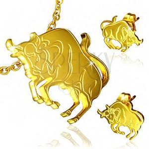 Arany színű acél szett - bedugós fülbevaló és medál, Bika