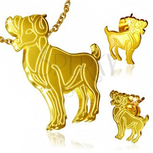 Arany színű szett acélból, bedugós fülbevaló és medál, Kos