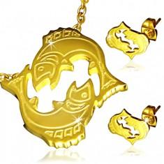 Acél szett arany színben - medál és fülbevaló, Halak csillagjegy