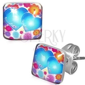 Négyzetes fülbevaló acélból, színes virágok és szívek