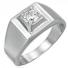 Gyűrű acélból - kiemelkedő négyzet cirkónia