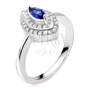 Ezüst gyűrű, kék cirkóniás kő, cirkónás elipszis