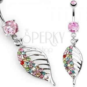 Acél köldökpiercing, rózsazsín kő, színes cirkóniás levél