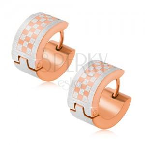 Arany-réz színű karika fülbevaló acélból, sakktábla