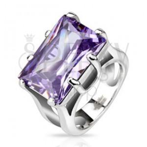 Acél gyűrű masszív téglalap alakú lila kővel