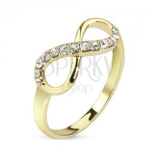 Gyűrű arany színben, végtelen szimbólum átlátszó cirkóniákkal díszítve