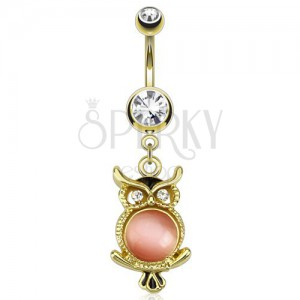 Aranyozott acél piercing köldökbe, bagoly rózsaszín kővel