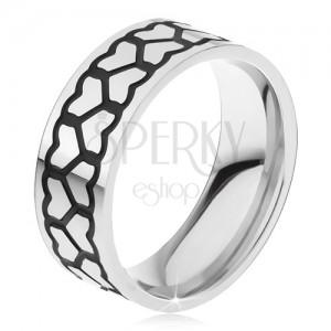 Acél gyűrű, két vastagabb egyenletes szívekből álló vonal