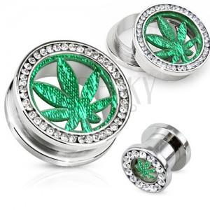 Acél plug alagút fülbe, átlátszó cirkóniás kör, marihuána levél