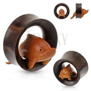 Barna fa alagút fülbe, karikán keresztül ugró delfin
