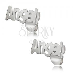 Acél bedugós fülbevaló ezüst színben, Angel