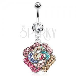 Köldökpiercing acélból, átlátszó kő, színes cirkóniás virág