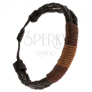Karkötő - három fekete fonat dió és kávébarna zsinórral körbetekerve