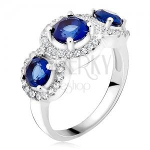 Gyűrű 925 ezüstből, cirkóniás körök, három kék kő
