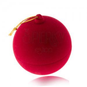 Bársony ajándékdoboz gyűrűre, piros karácsonyi gömb